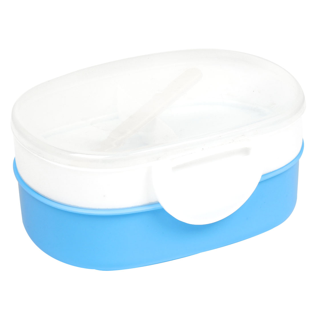 Travel Picnic White Dodger Blue Two Layers Oval Plastic Lunch Case + Spoon