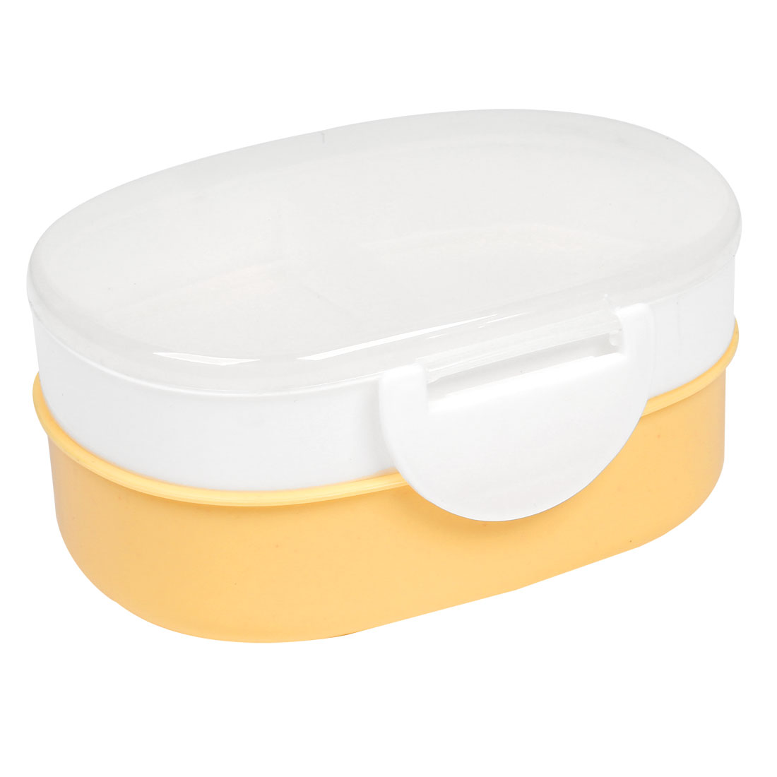 Travel Picnic White Light Orange Two Layers Oval Plastic Lunch Case + Spoon