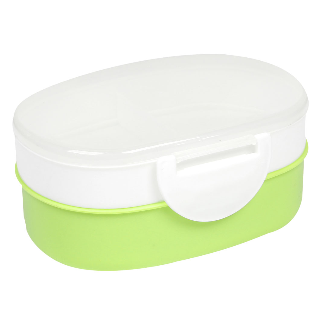 Light Green White Oval Plastic Lunch Box Food Storage Container w Spoon