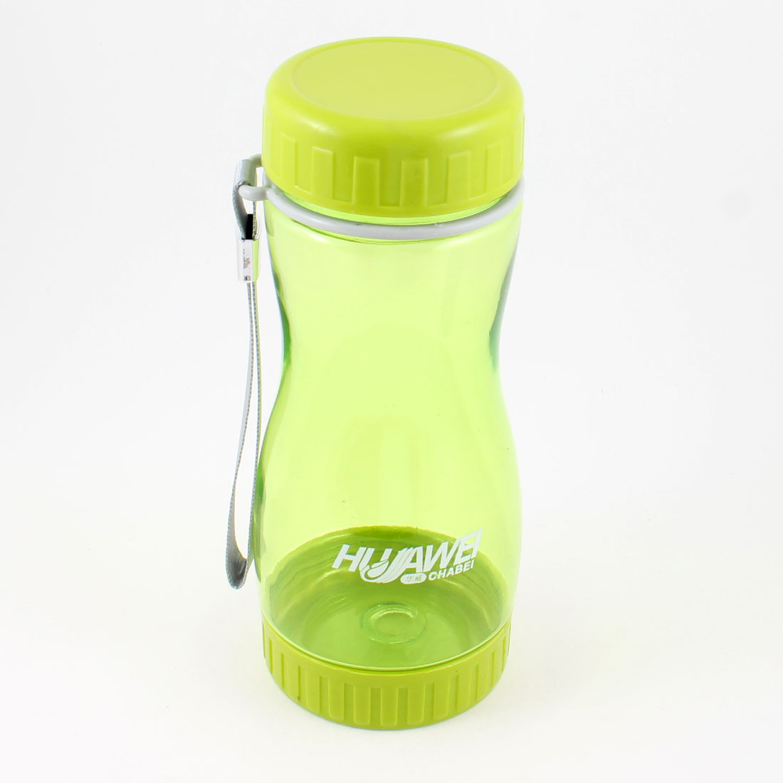Camping Travel Portable 500ml Capacity Water Drink Bottle Cup Clear Green w Hand Strap