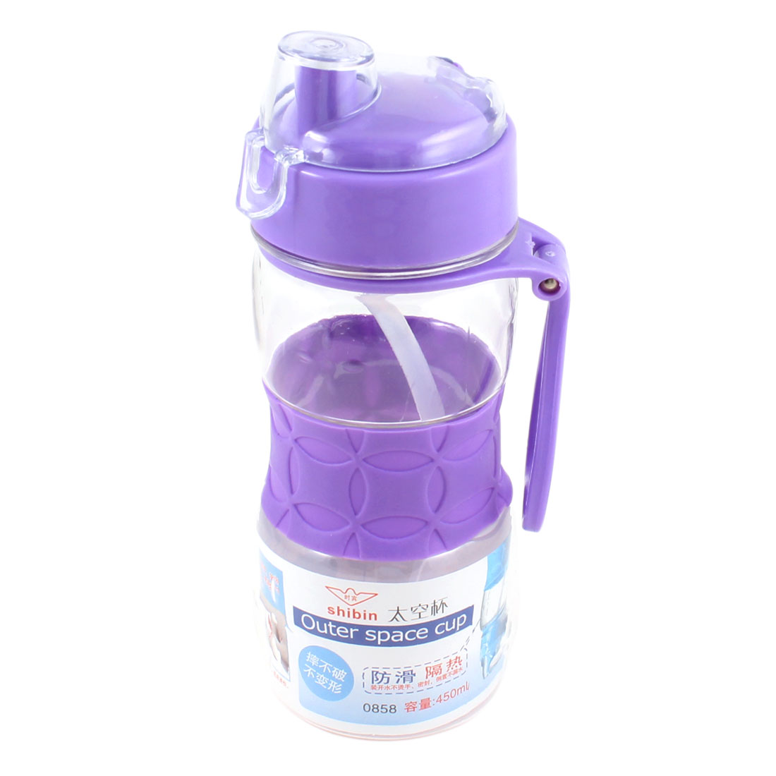 450ml Outdoors Purple Lid Clear Anti Slip Water Container Straw Drink Bottle