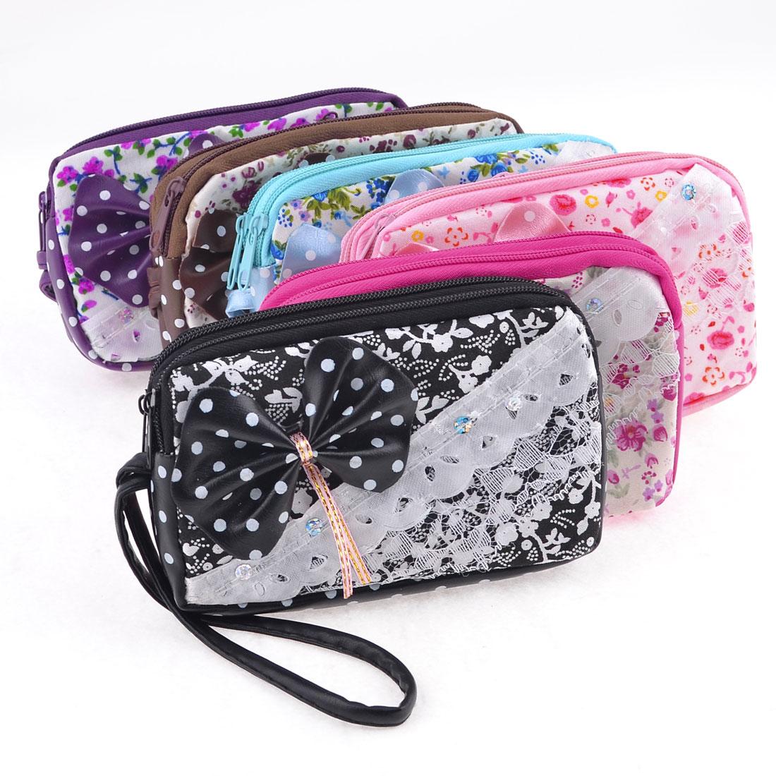 6 Pcs Flowers White Dots Pattern Double Zipper Closure Handbag