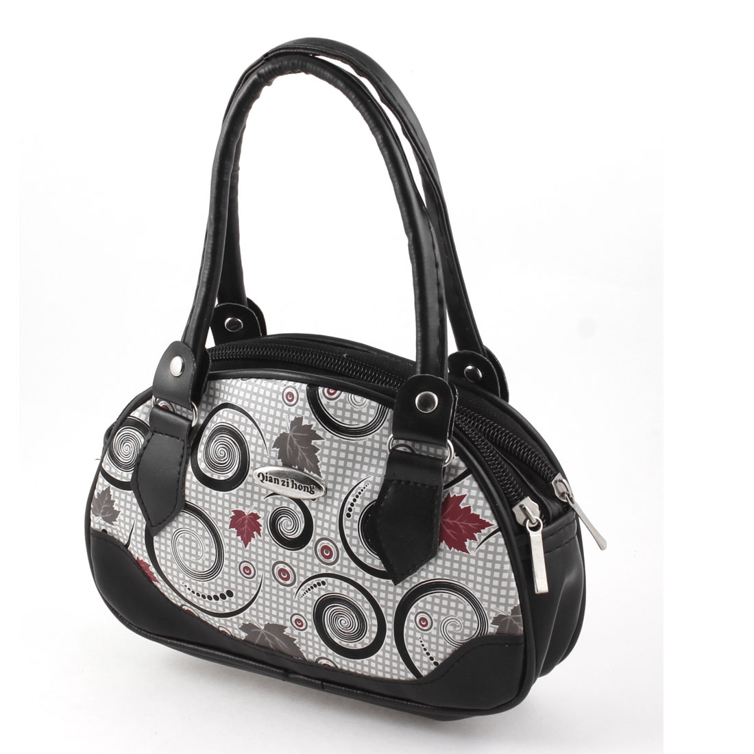 Lady Leave Pattern Black White Faux Leather Zipper Closure Change Purse Handbag