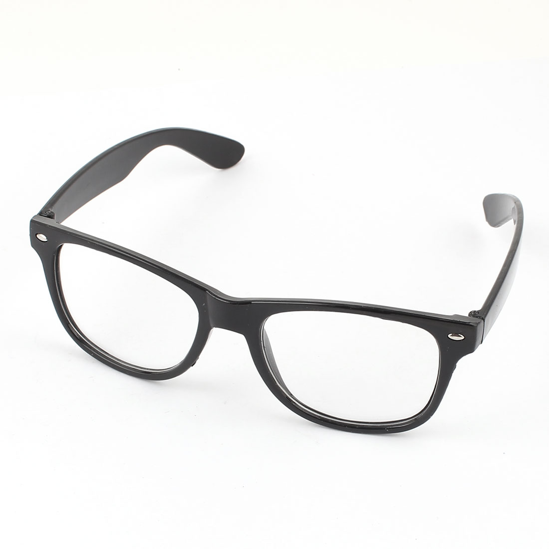 Unisex Plastic Black Full Rim Frame Single Bridge Clear Lens Plain Eyeglasses