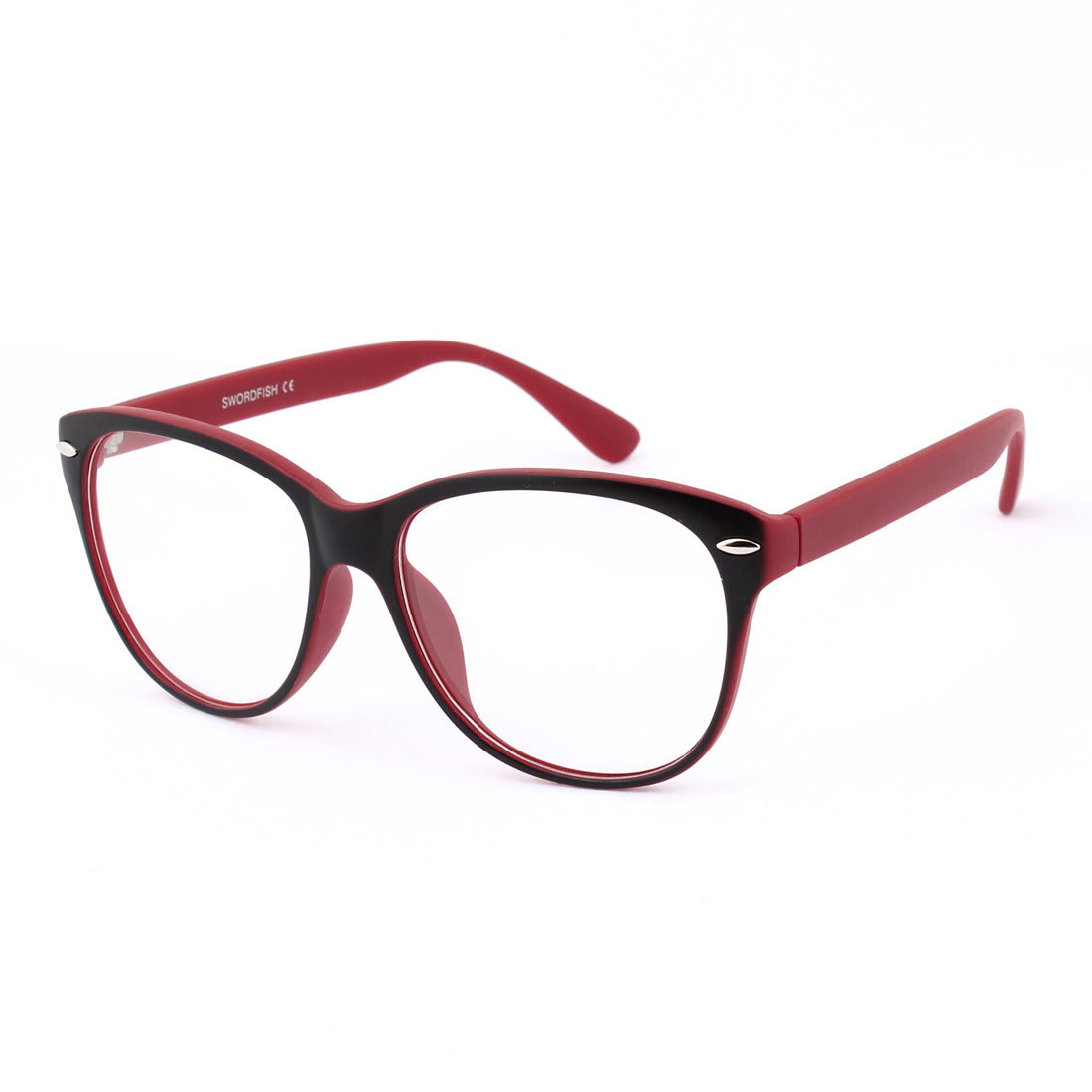 Ladies Men Plastic Red Black Full Rimmed Frame Clear Lens Plain Glasses