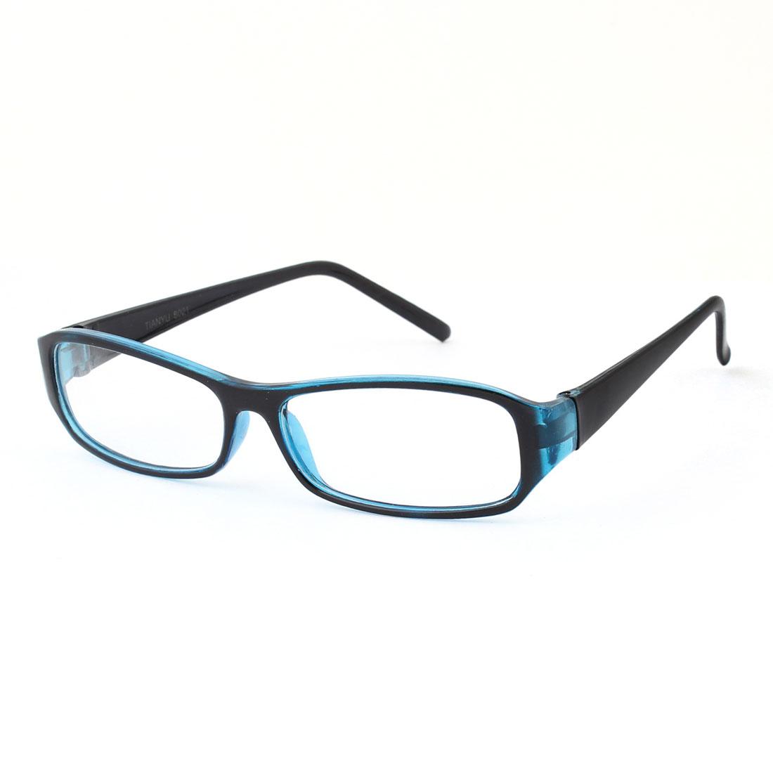 Unisex Plastic Arms Black Blue Full Frame Clear Lens Plain Eyeglasses