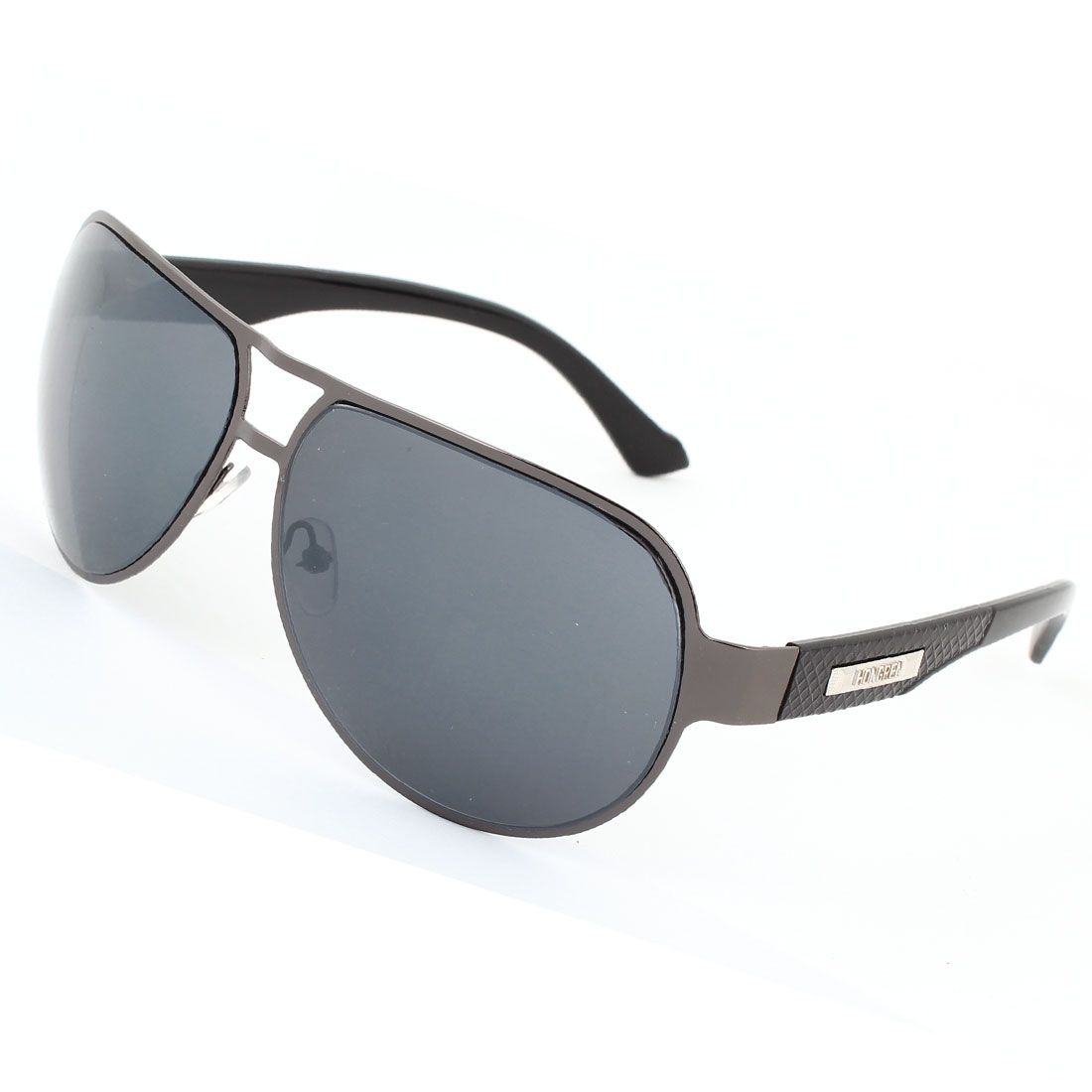 Man Plastic Dark Arms Full Metal Frame Double Bridges Black Lens Sunglasses