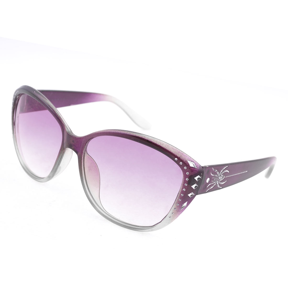 Purple Gradient Lens Rhinestone Spider Decor Sunglasses for Women