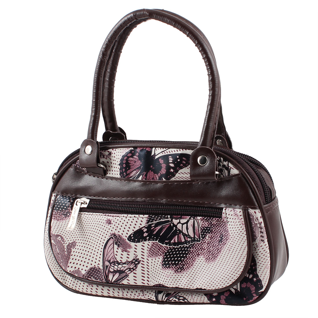 Brown White 2 Compartment Dot Butterfly Printed Zippered Handbag Bag for Lady