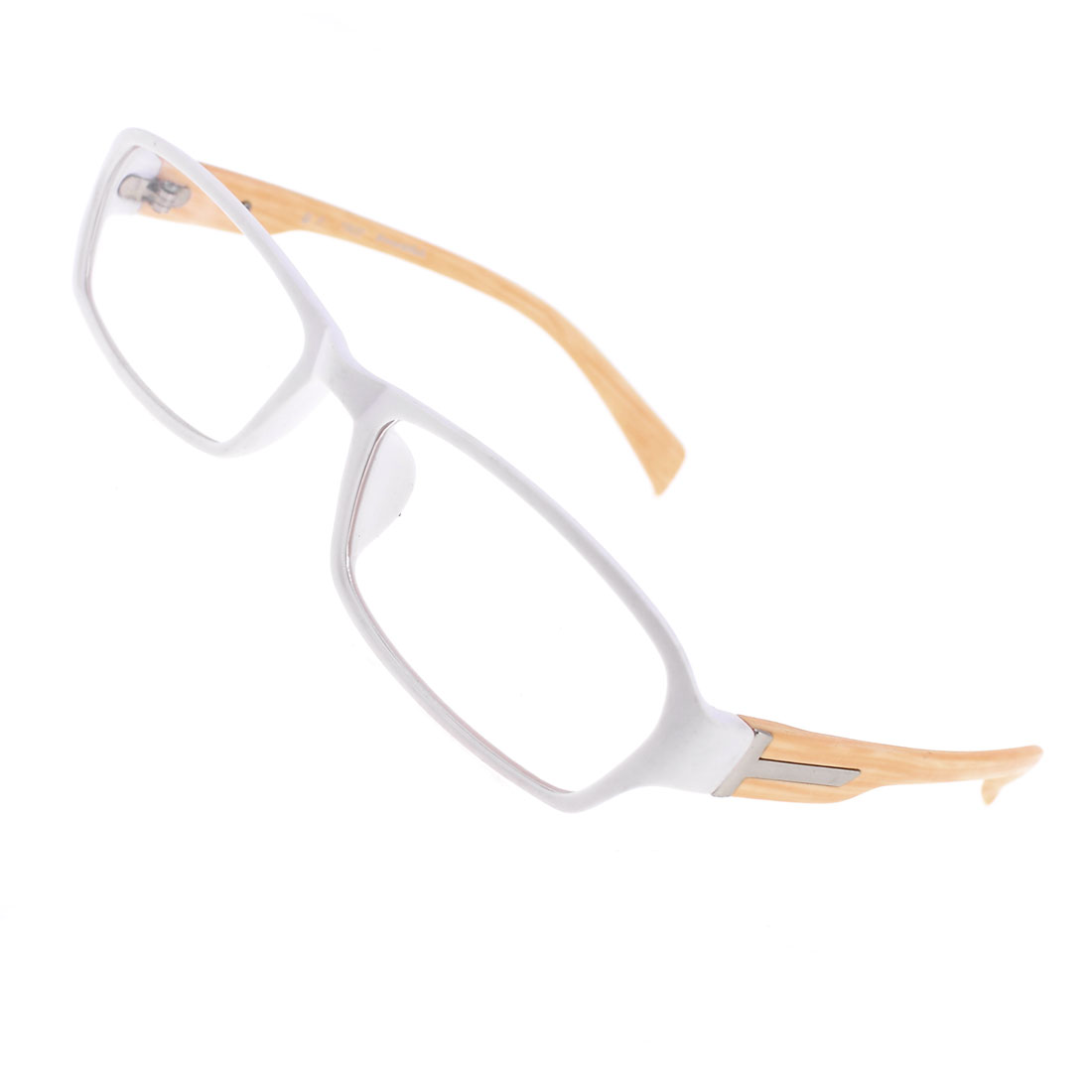 Pinkish Brown Plastic Wood Grain Arms Clear Lens Plain Glasses