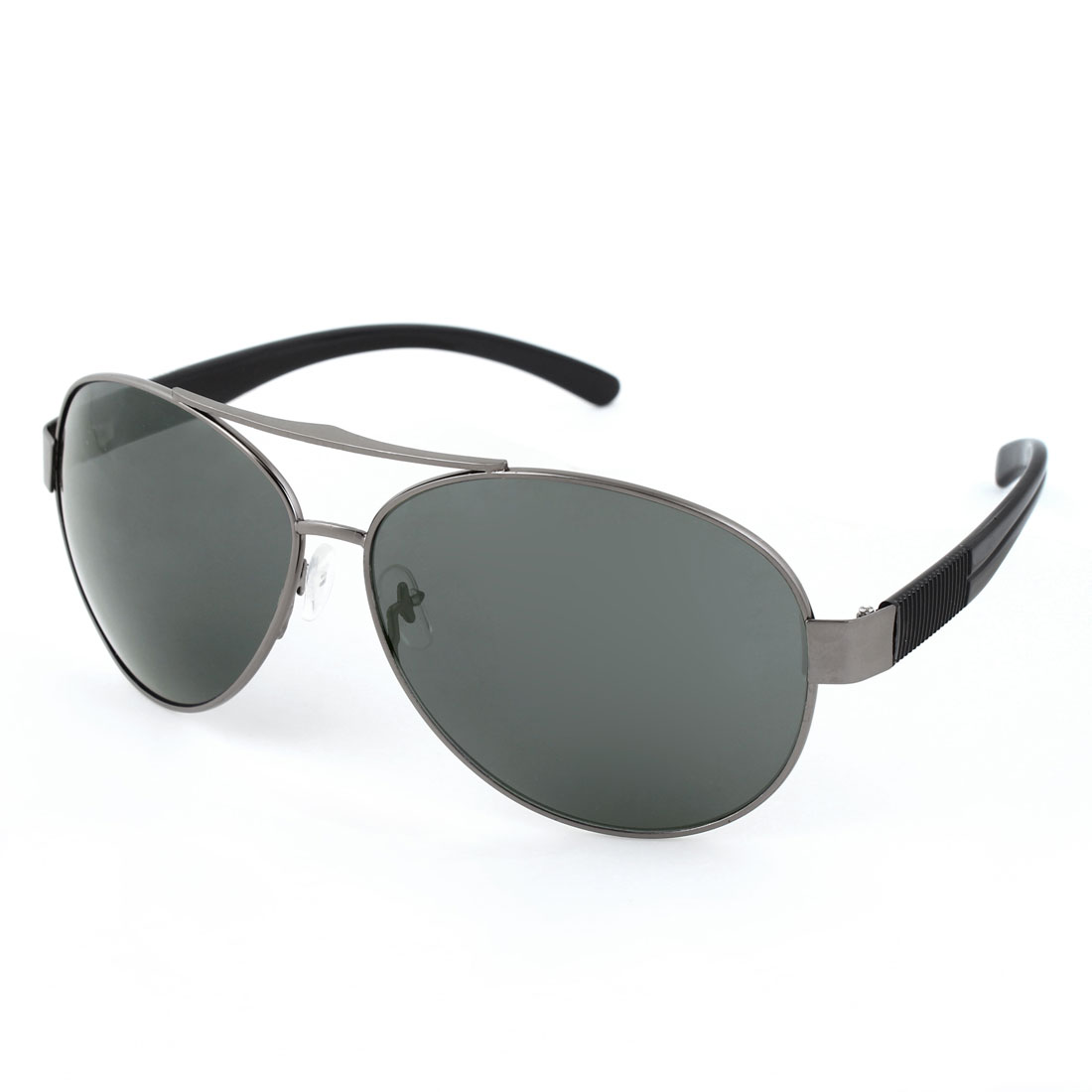 Men Plastic Black Arms Dark Gray Full Metal Rim Frame Teardrop Lens Sunglasses