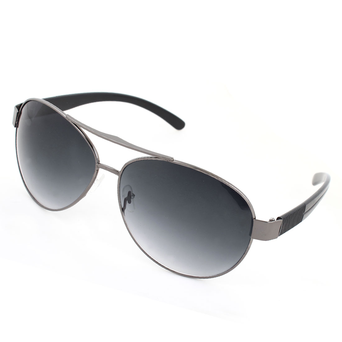 Men Plastic arms Dark Gray Full Metal Frame Teardrop Lens Sunglasses