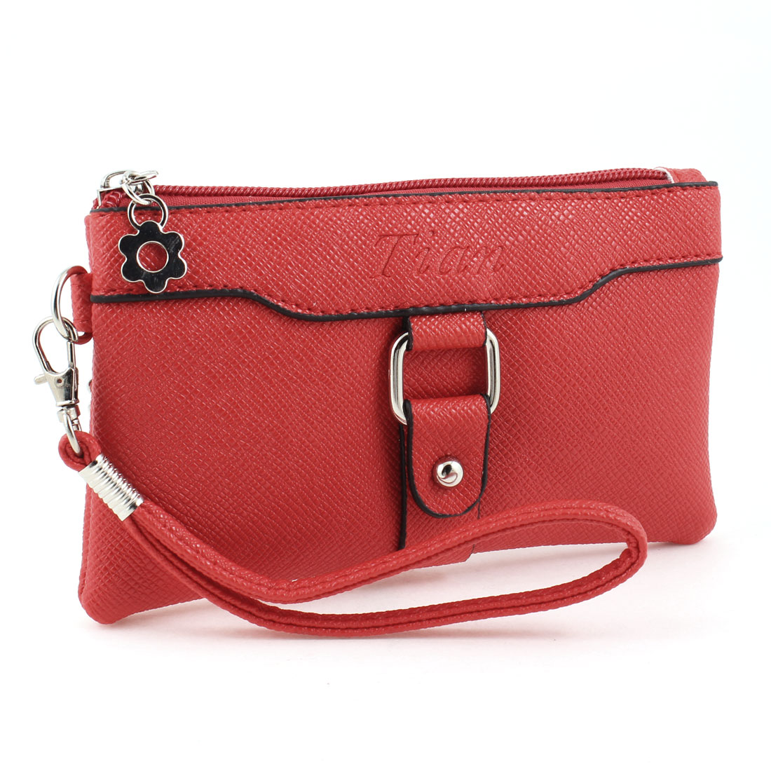 Lady Red Zip Closure Small Pocket Side Lichee Pattern Wallet Change Purse