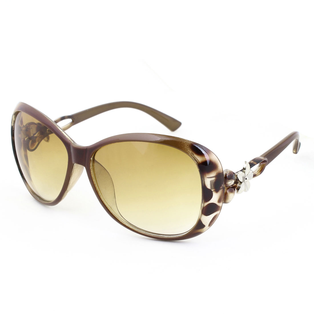 Brown Leopard Print Full Frame Floral Decor Plastic Arms Sunglasses for Ladies