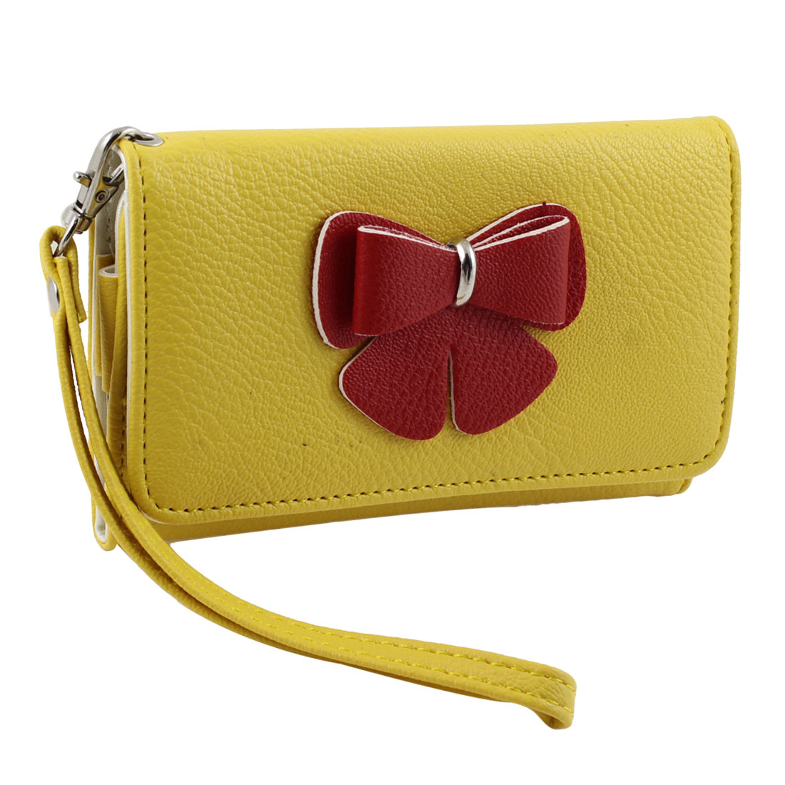 Woman Lady Bowtie Decor Rectangle Wristlet Coin Purse Phone Holder Yellow Red
