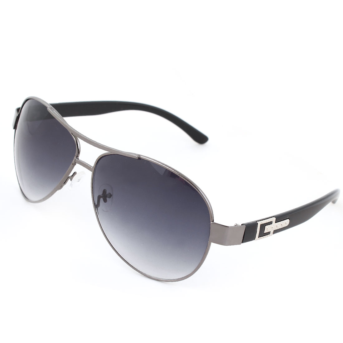 Men Plastic Arms Dark Gray Full Metal Frame Dual Bridge Lens Sunglasses