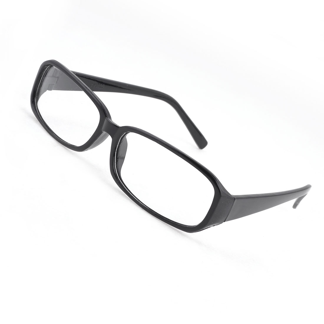 Black Plastic Retangle Frame Clear Lens Plain Glass Spectacles