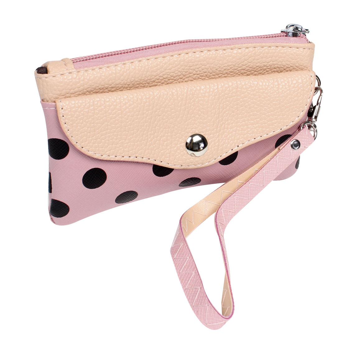 Lady Handy Lychee Dot Printed Zip Up Rectangle Textured Wallet Coin Bag Purse Pink