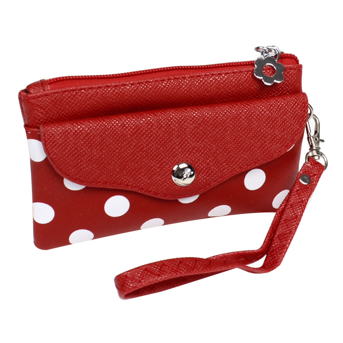 Women Faux Leather Dotted Pattern Nylon Lining Wallet Purse Bag Red w Hand Strap