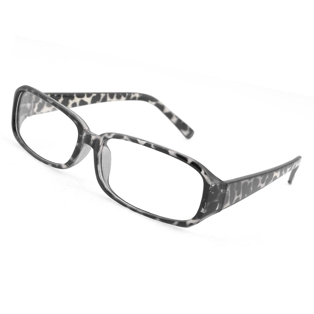 Leopard Pattern Stains Design Retangle Shape Lens Plain Glasses