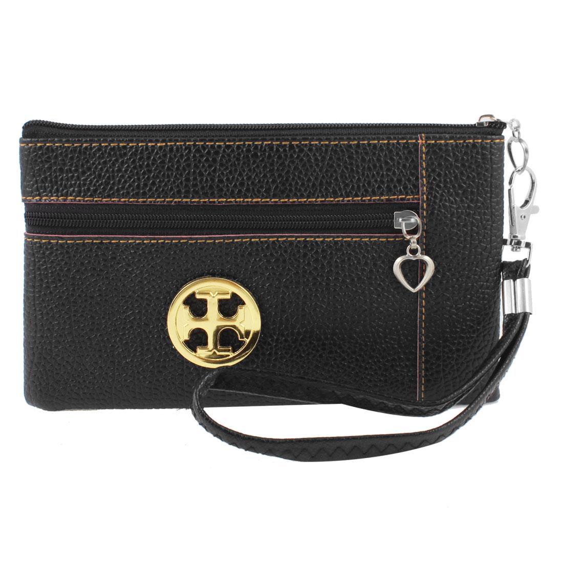 Women Leechee Pattern Faux Leather Zip Up Hand Bag Purse Wallet Black