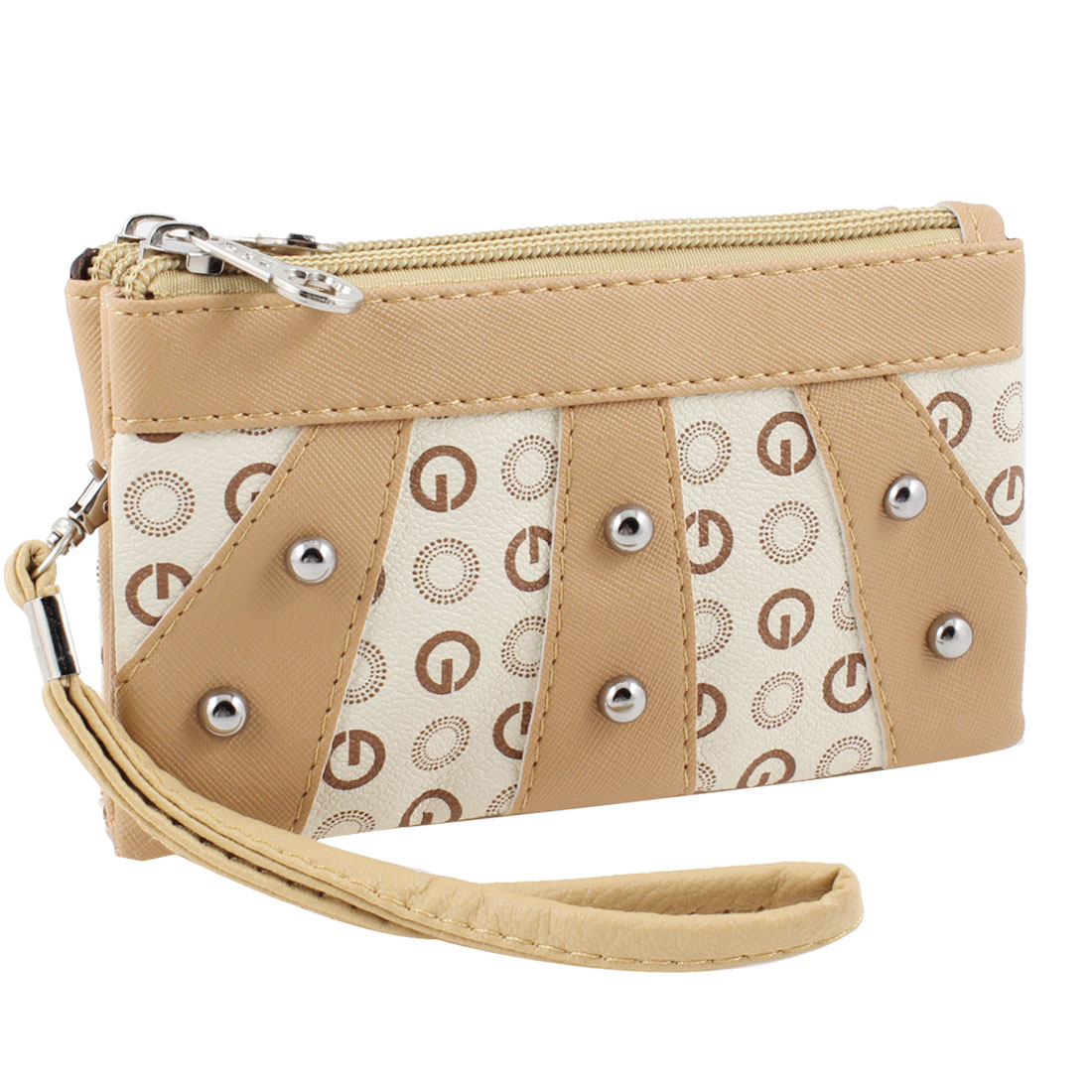 Lady Khaki Zip Closure 2 Compartments Wallet Hand Bag Change Purse w Strap