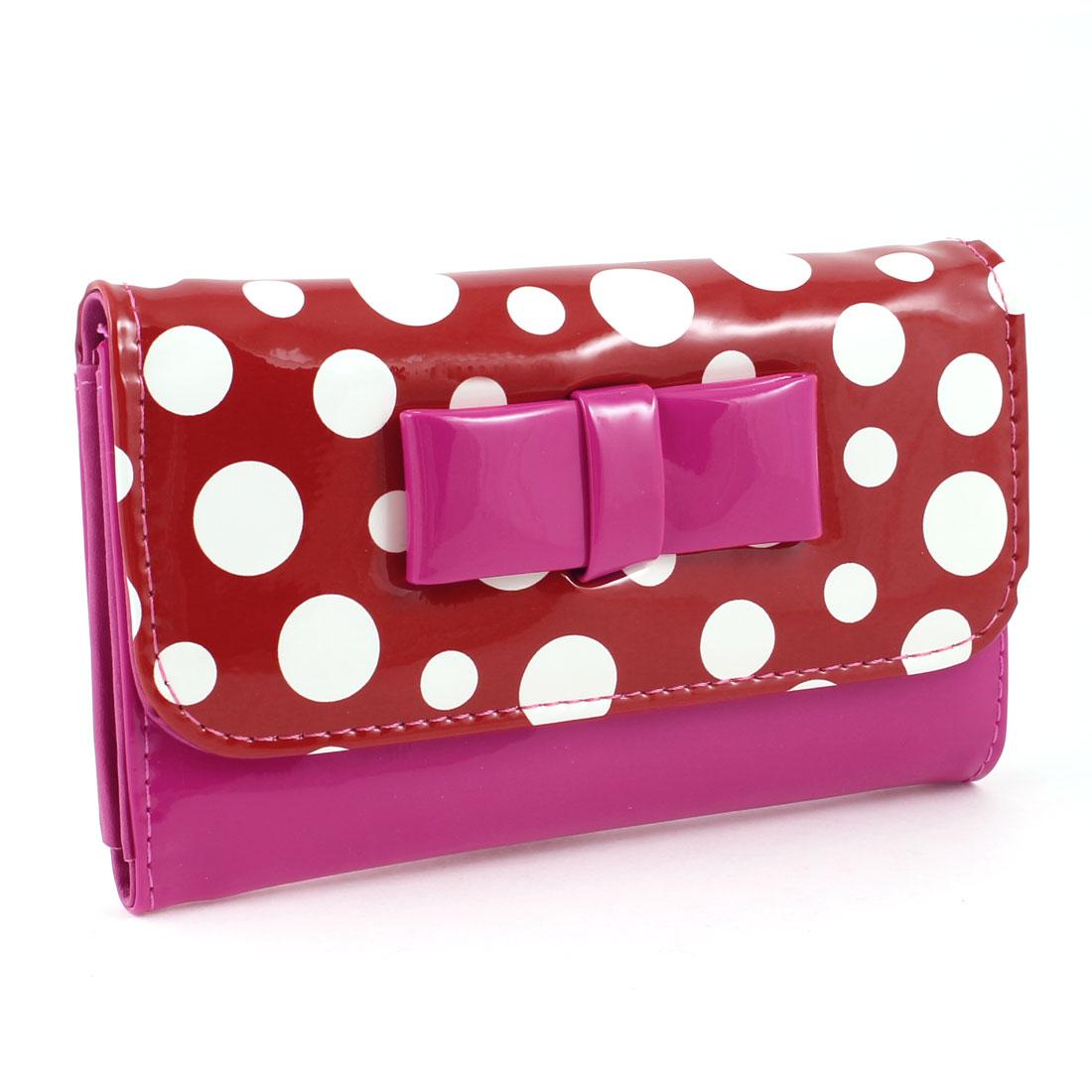 Dot Print Press Stud Button Fuchsia Rectangle 2 Slots Wallet Purse for Women