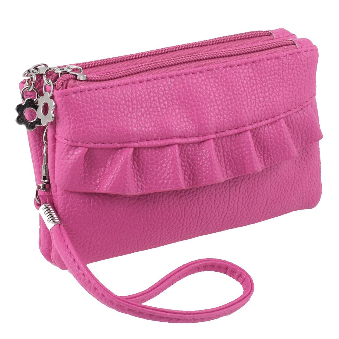 Lady Fuchsia Leechee Print 2 Compartment Faux Leather Zipper Rectangle Bag Purse