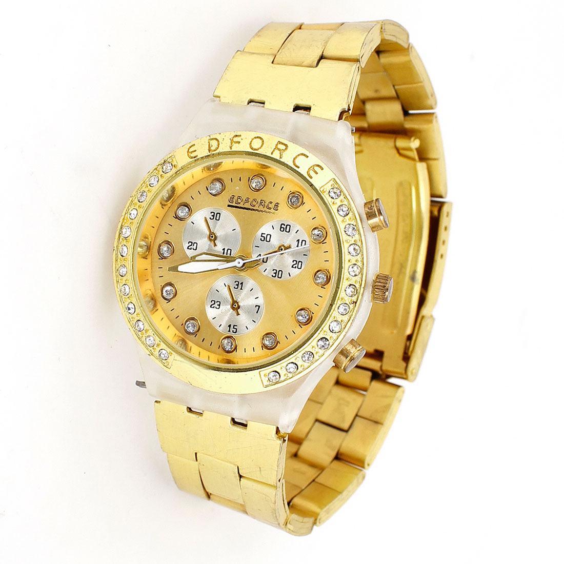 Gold Tone Round Dial Case Rhinestone Wrist Watch Decor for Man