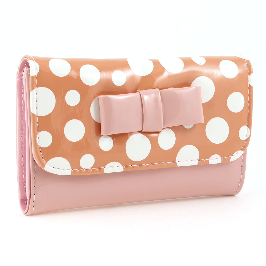 Lady Dot Pattern Pink Rectangle 2 Compartments Cards Holder Wallet Purse