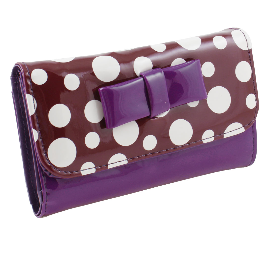 Woman Dot Pattern Faux Leather 2 Compartments Cards Holder Wallet Purse Purple