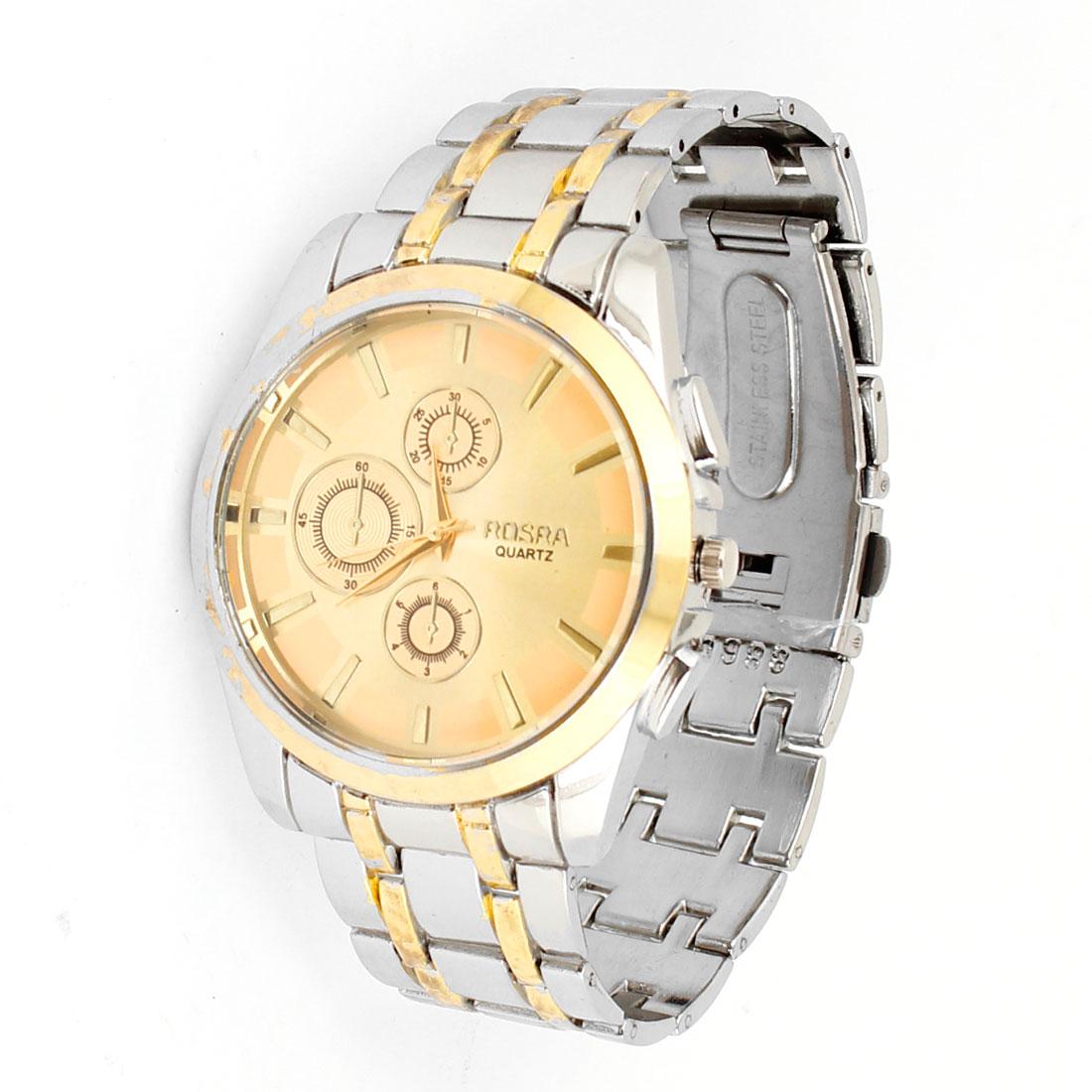 Men Hinged Adjusting Metal Silver Tone Wristband Quartz Wrist Watch