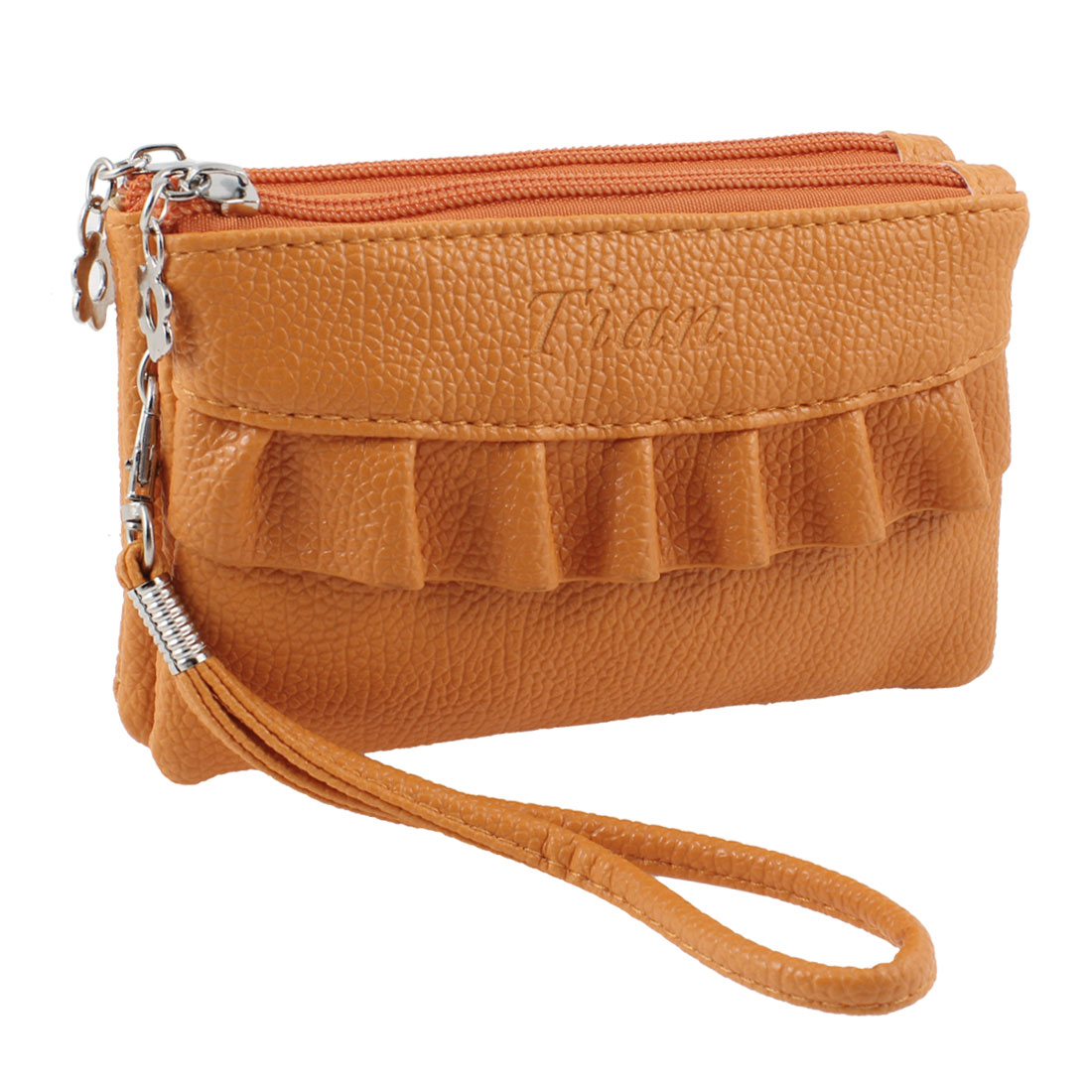 Orange Leechee Pattern 2 Compartments Faux Leather Zip Up Purse Wallet w Strap
