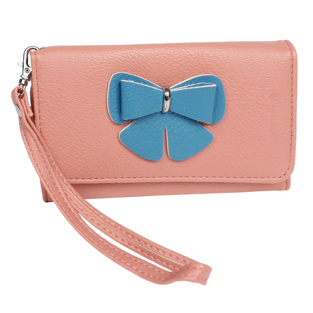 Hand Strap Bowtie Detail Pink Faux Leather Bag Card Holder Purse for Ladies