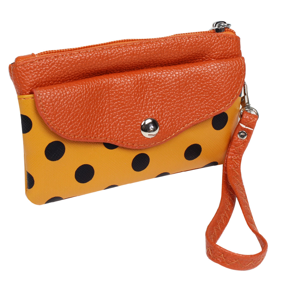Ladies Handy Lychee Dot Printed Zip Up Rectangle Textured Pouch Purse Orange