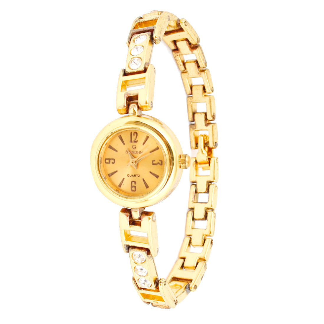 Gold Tone Band Round Dial Hollow Out Rhinestones Wristband Watch for Lady