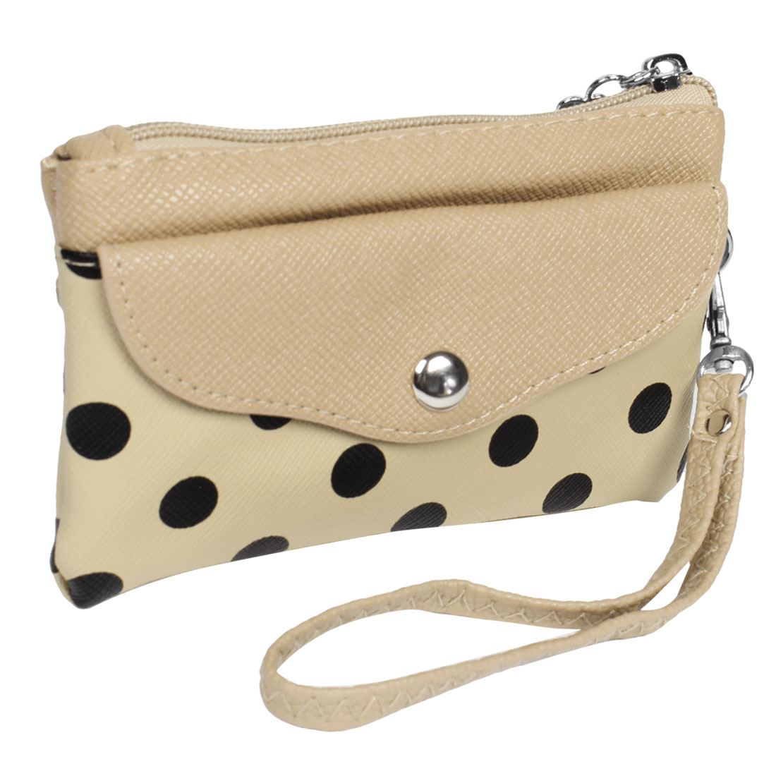 Khaki Faux Leather Dotted Pattern Nylon Lining Wallet Purse Bag w Hand Strap