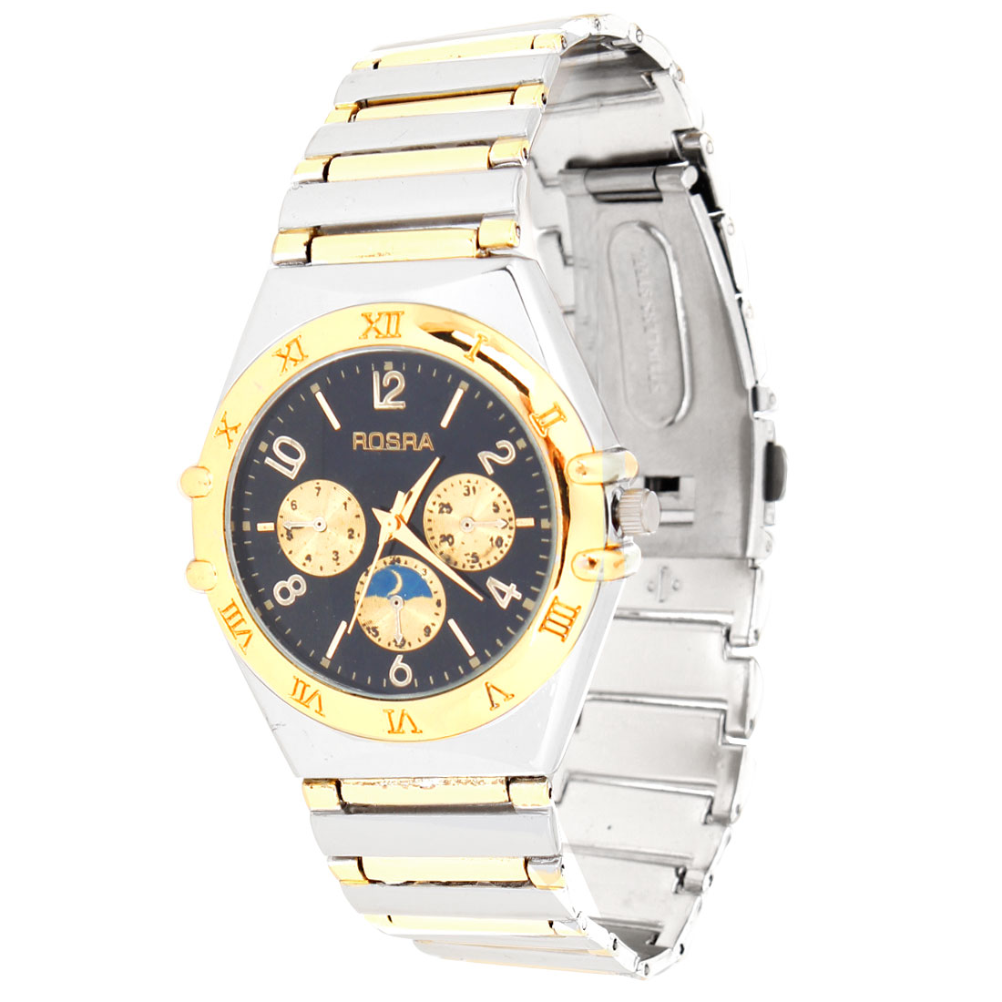 Black Round Dial Case Silver Gold Tone Textured Band Wrist Watch for Men