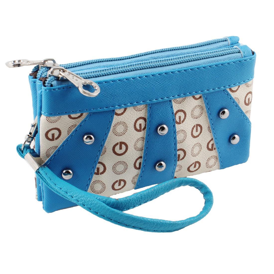 Women Blue Zipper Closure Letter G Print Faux Leather Coin Purse Wallet w Strap