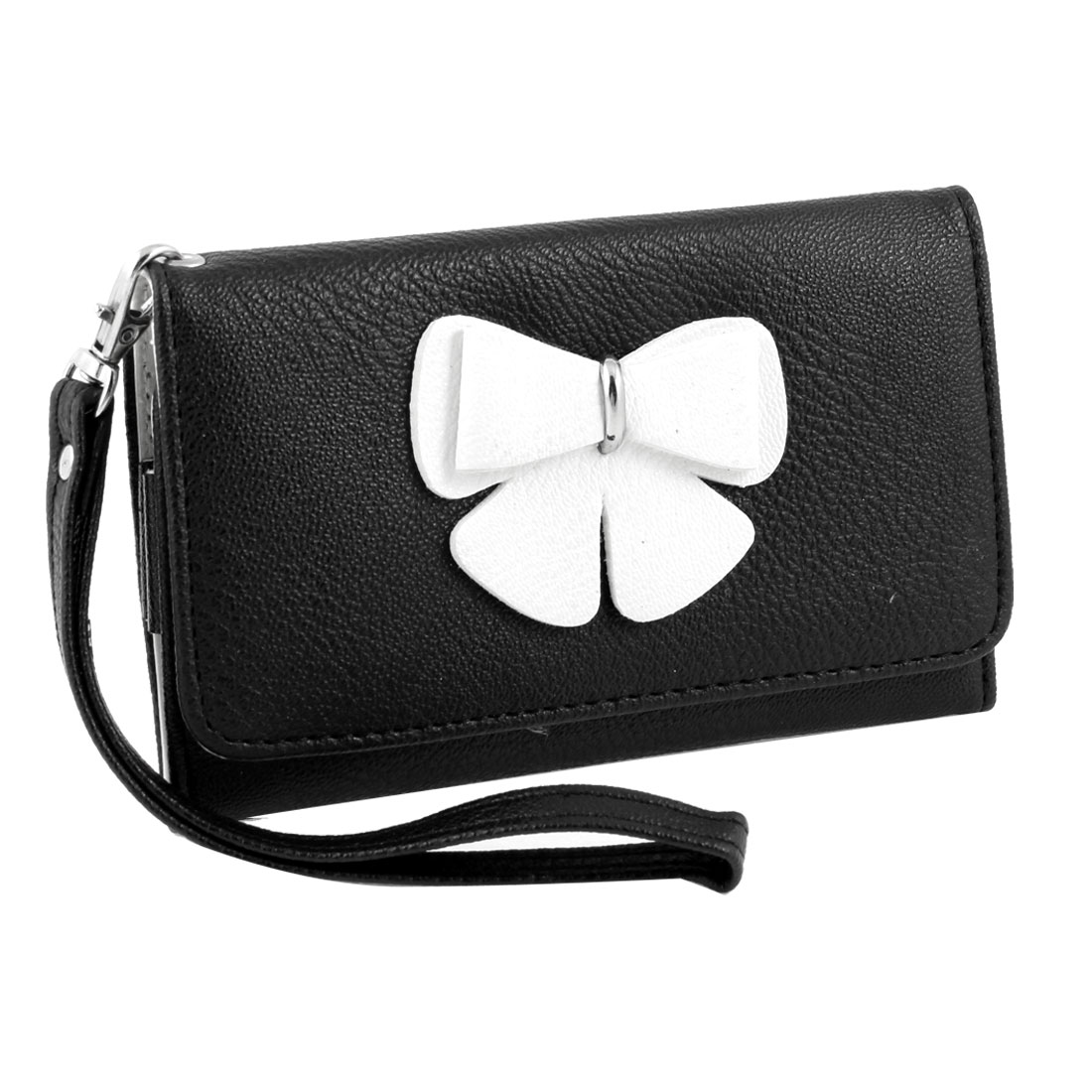 Woman Lady Bowtie Decor Black Rectangle Wristlet Coin Purse Phone Holder