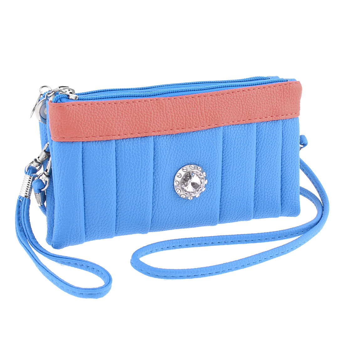 Blue Faux Leather Double Pockets Rhinestone Accent Purse