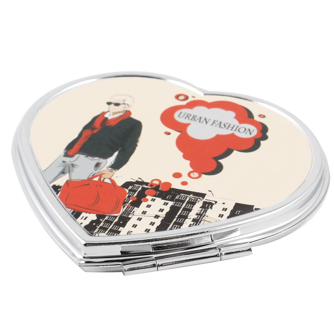 Man Pattern Heart Shaped Silver Tone Foldable Make Up Cosmetic Mirror for Woman