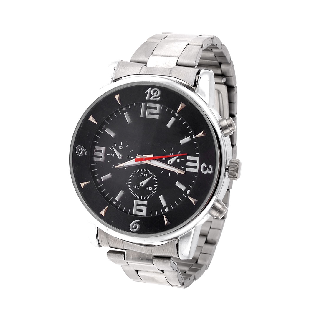 Black Dial Plate Three Side Knobs Stainless Steel Back Watch for Men