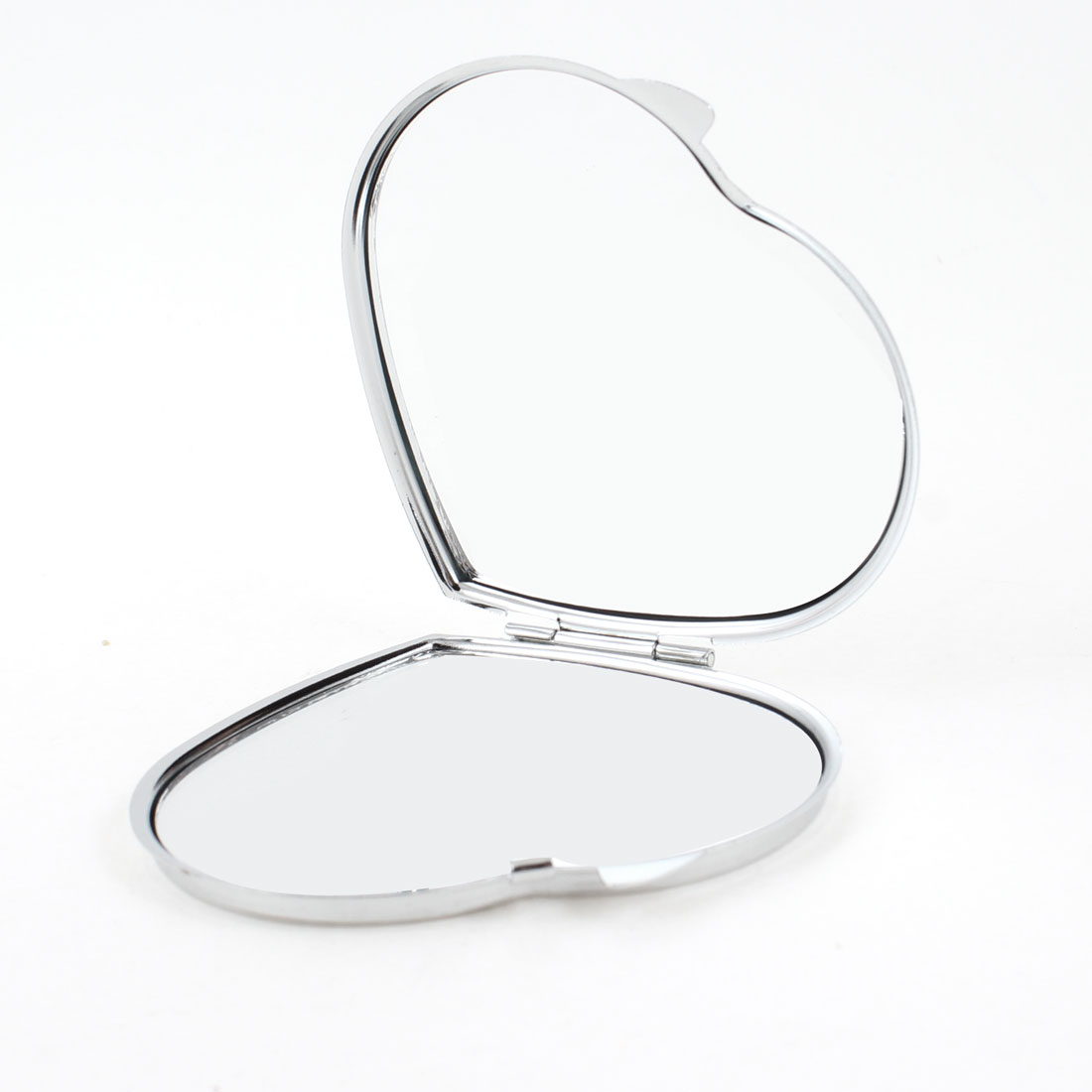 Letter Print Double Side Heart Shape Cosmetic Mirror Silver Tone White for Lady