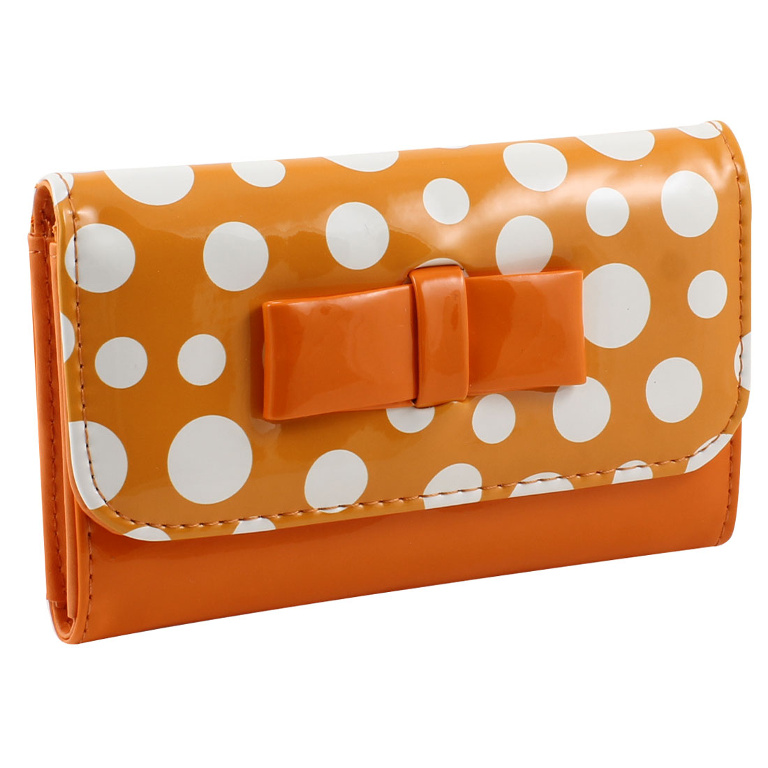 Woman Dot Pattern Orange Faux Leather 2 Compartments Cards Holder Wallet Purse