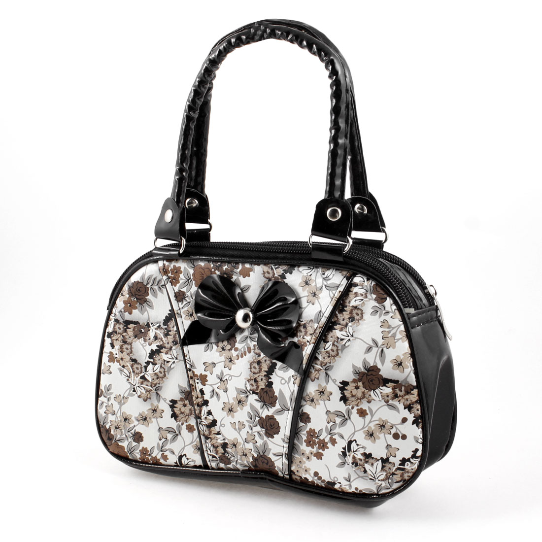Lady Flower Print Bowknot Decor Double Strap Zipper Closure Handbag Change Purse Black White