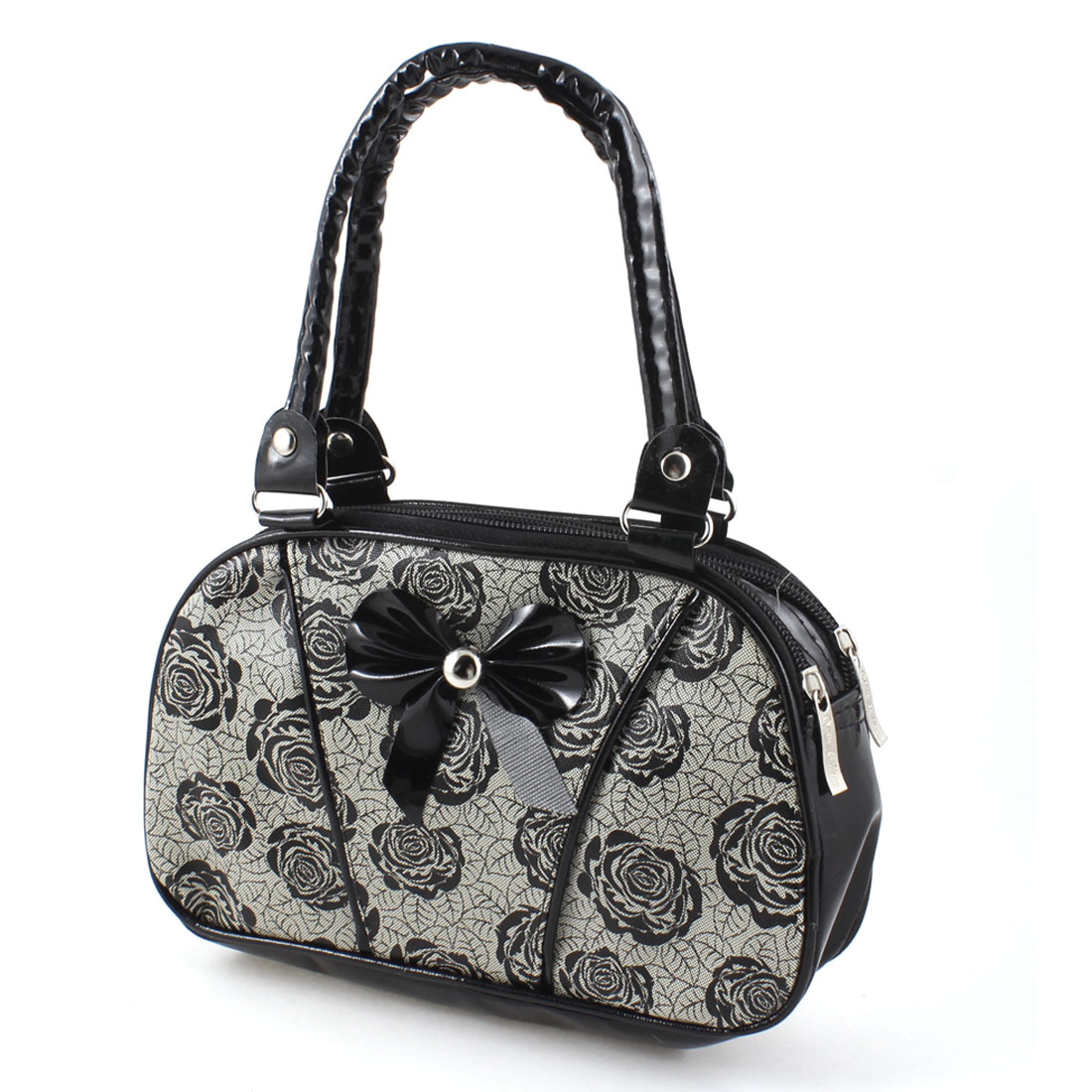 Lady Floral Pattern Bowknot Decor Black Beige Faux Leather Zipper Closure Change Purse Handbag