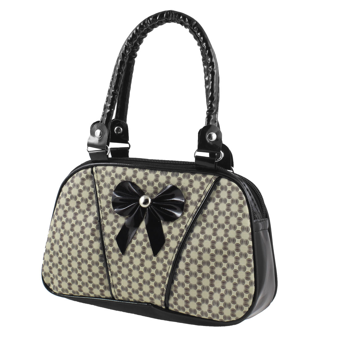 Lady Bowknot Decor 2 Compartment Double Strap Zipper Closure Handbag Change Purse Black Beige
