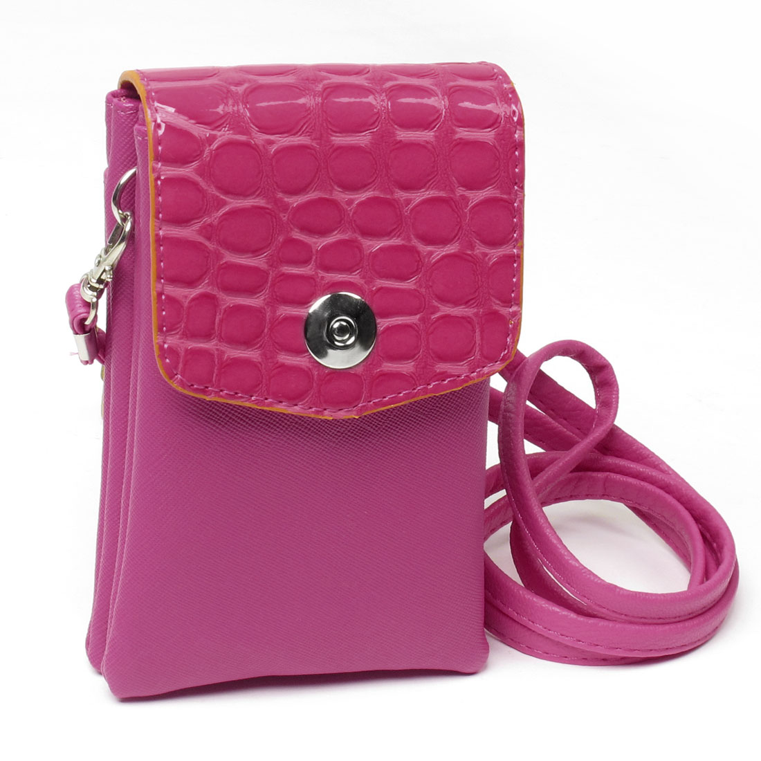 Fuchsia Crocodile Pattern Double Pockets Cell Phone Bag