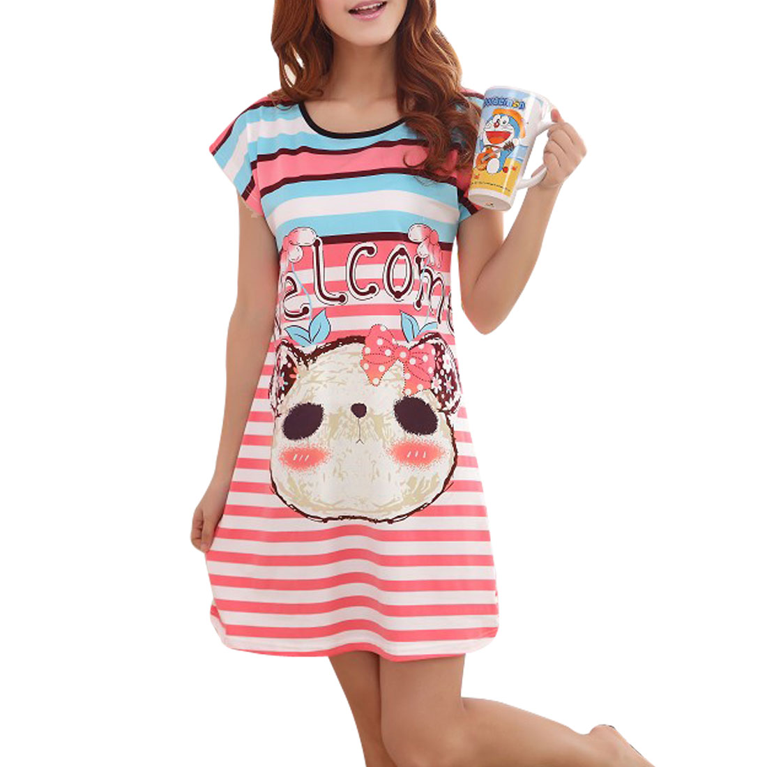 Pink White Blue Stripes Pattern Nightwear Sleepshirt XS for Lady